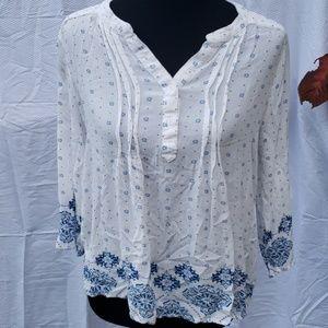 Fun 2 Fun flowy white gypsy blouse XL